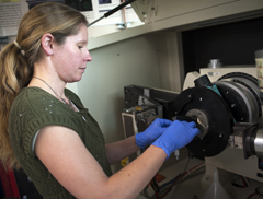 preparing samples for study in the X-ray Diffractometer at Montana State University